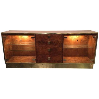 Burlwood & Brass Credenza by Founders