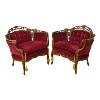 1940s French Louis XV Style Carved Walnut Tufted Bergere Chairs - a Pair