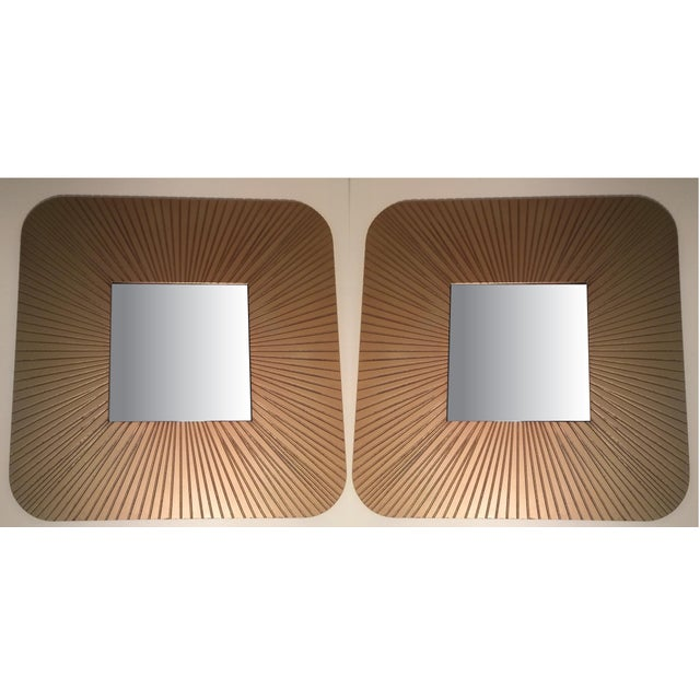 Image of Vintage Art Deco Revival Gold Mirrors - Pair