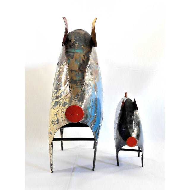 Recycled Metal Pig Sculptures - A Pair - Image 4 of 8