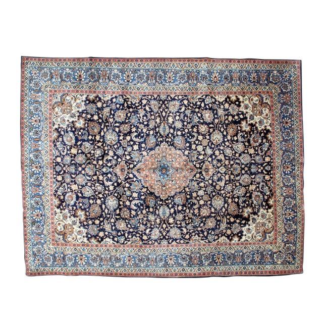"Leon Banilivi Navy Persian Kashan Carpet - 9'8"" X 12'6"" - Image 1 of 6"