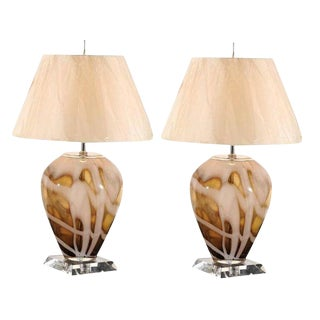 Dramatic Pair of Blown Glass and Lucite Lamps