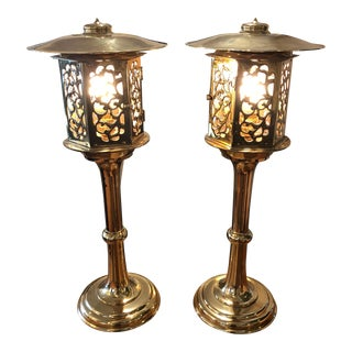 Chinese Solid Brass Table Lanterns - a Pair