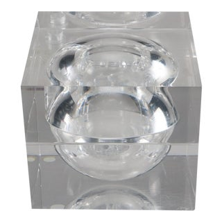 Lucite Cube Ice Bucket With Sphere Center 1970's