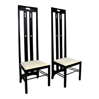 "Vintage Charles Rennie Mackintosh High Back ""Ingram"" Chairs in Black Ash-Wood A-Pair Mid Century Modern Side Accent Club"