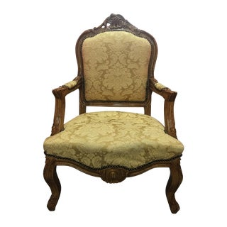 Ornate Carved Gold Accent Chair