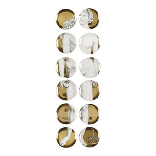 Set of 24 Vintage Piero Fornasetti Gold Adam & Eve Porcelain Plates
