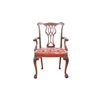 Chippendale Red Leather Armchair