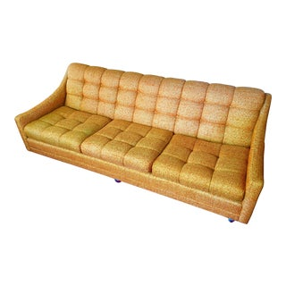 Kroehler Avant Designs Mid Century Modern Orange Tweed Sofa Couch
