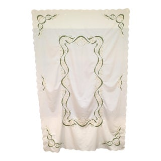 Vintage Large Green Embroidered Tablecloth