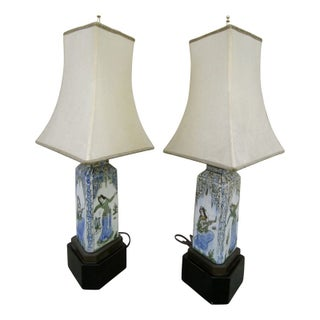 Handpainted Italian Stoneware Lamps - Pair