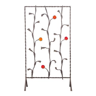 Decorative Mid-Century Modern Artisan Iron Screen