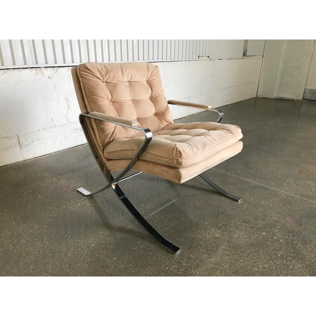 Vintage bernhardt chrome base lounge chair chairish