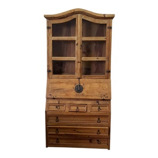Rustic Mexican Pine 2 Part Slant Top Secretary Desk