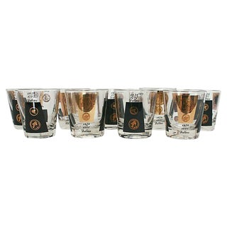 Vintage Currency Lowball Glasses - Set of 9