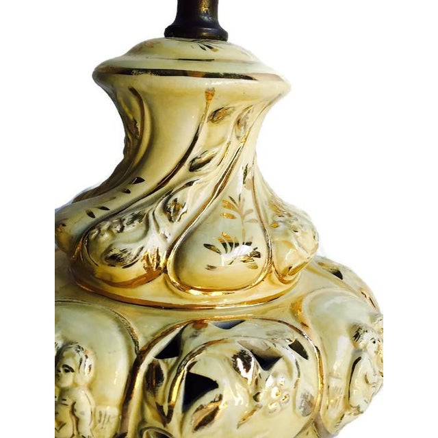 Image of Vintage Victorian Ceramic & Brass Lamp - A Pair
