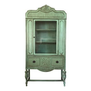 Restored Antique Teal China Cabinet