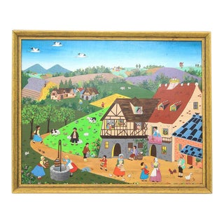 French Country Vintage Folk Painting