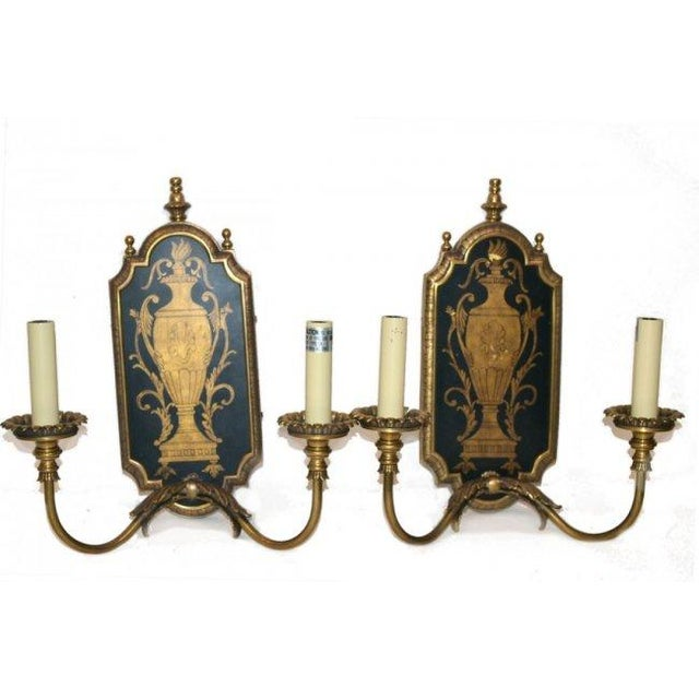 Image of Neoclassical Two-Light Sconces - Pair
