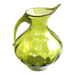 American Green Art Glass 'Optic' Pitcher; Designed by Wayne Husted, Blenko Glass