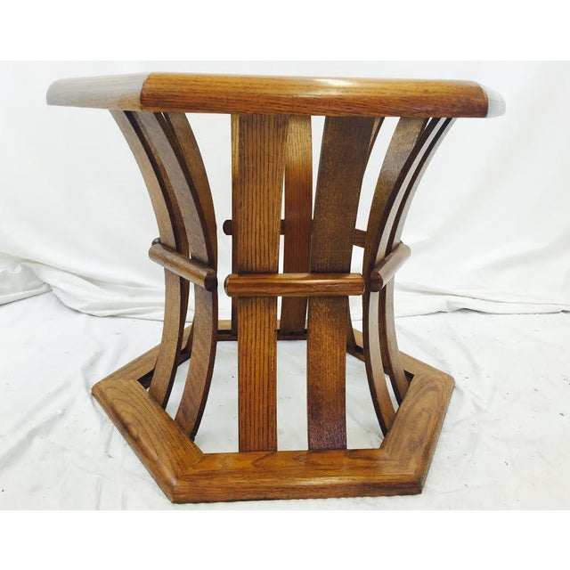 Retro Mid Century Wood & Glass Top Side Table - Image 7 of 7