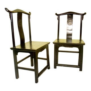 Antique Chinese Black High Back Chairs - A Pair