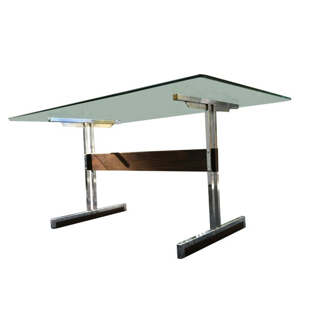 Modern Glass & Chrome Dining Table / Desk - Image 2 of 4