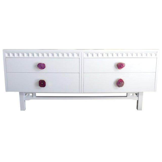White Credenza Cabinet W/ Fuchsia Agate Pulls - Image 1 of 11