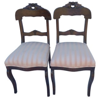 Antique Rose Carved Mahogany Chairs - A Pair