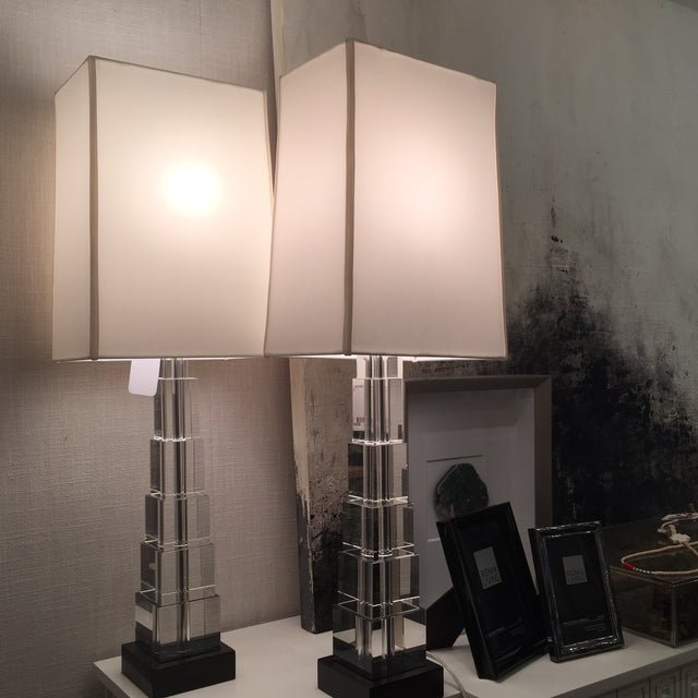 Skyscraper Crystal Lamps - Pair - Image 7 of 7