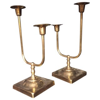 Mid Century Brass Candlesticks - Pair