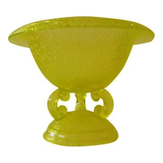 Yellow Depression Glass 3-Footed Bowl