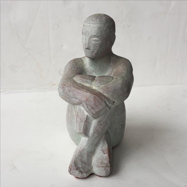 Men Seated Terra Cotta Sculpture - Image 8 of 11