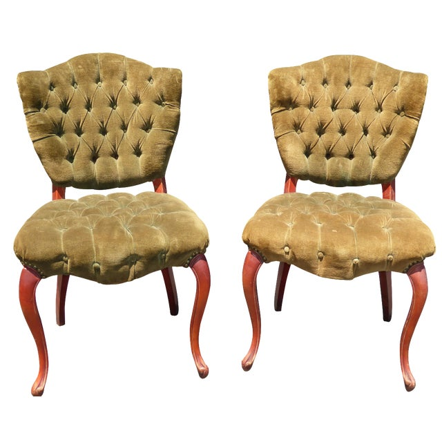 French Provincial Tufted Velvet Chairs - Pair - Image 1 of 11