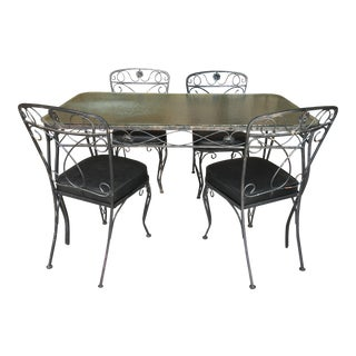 Mid-Century Wrought Iron Dining Table & Chairs - Set of 5