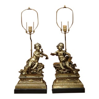 French Bronze Cherubs Lamps - A Pair