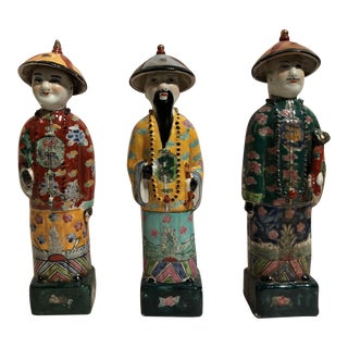 Chinoiserie Style Men Porcelain Figurines - Set of 3