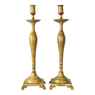 Antique English Victorian Solid Brass Candlestick Holders - A Pair