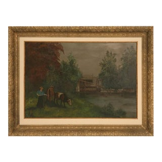 c.1910 American Oil Painting on Tin