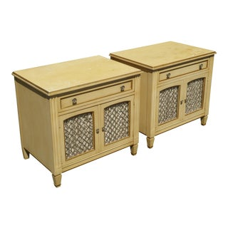 Vintage Kindel French Country Cottage Cream Nightstands - A Pair