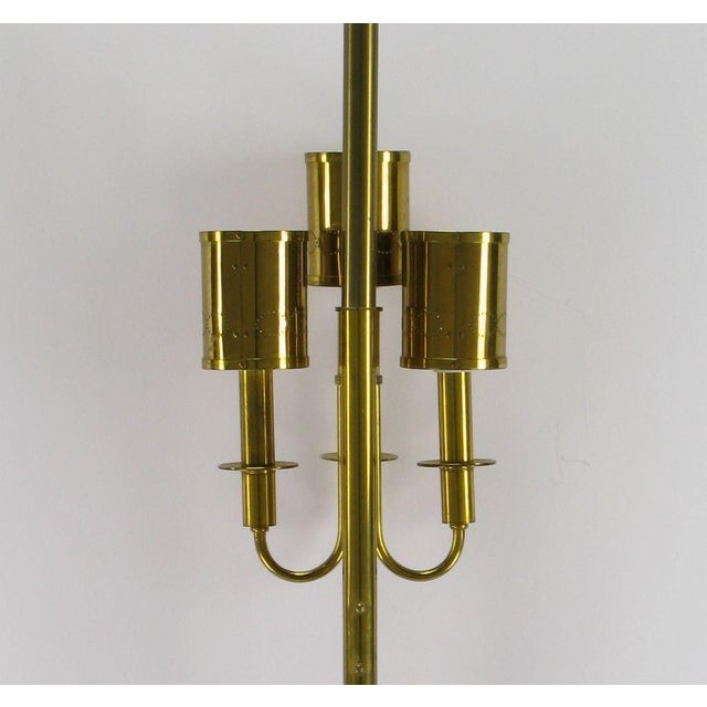 Three Light Pole Lamp With Polished & Pierced Brass Shades - Image 7 of 7