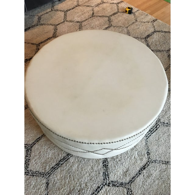 Custom Stud Leather Coffee Table With Brass Tray - Image 4 of 7