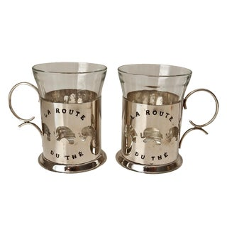 Glass & Silver French Coffee Tea Cups - A Pair