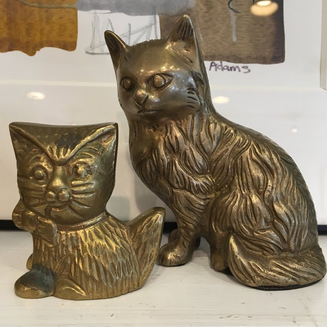 Vintage Brass Cat Figures - A Pair - Image 5 of 8