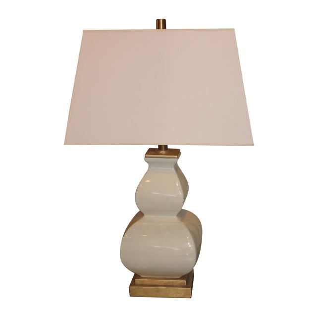 Image of Ivory Lamp With Gold Base