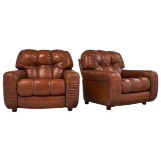 1970s French Overstuffed Leather Club Chairs- A Pair