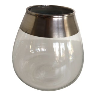 Mid-Century Modern Dorothy Thorpe Crystal Silver Band Vase