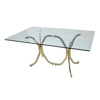 Milo Baughman Style Brass & Glass Dining Table