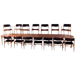 Mid-Century Teak Conference Table & 14 Eric Buck Dining Chairs