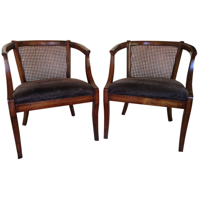 Vintage Cane Back & Faux Fur Seat Chairs - A Pair - Image 1 of 7